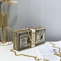 2020 pilha de dinheiro Cristais Mulheres dinheiro Evening Clutch Bolsas de casamento do diamante Jantar bolsas Bolsas mulheres de luxo designer sacos
