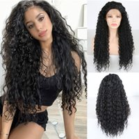 Natural Black Kinky Curly Wigs with Baby Hair Glueless Synth...