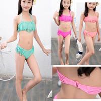 Kvalitet två delar barn baddräkt bikini tjejer baddräkt baby stripe kjol klänningar axel mindre prinsessa 2 stycke barn strand bär 7-16y yy017