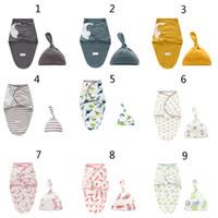2 шт / комплект для новорожденных Пеленальный Wrap + Hat младенца хлопка Прием Blanket постельных мультфильм милый младенцу спальный мешок для 0-6 месяцев B1