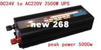 Freeshipping 2500W 5000W (piek) 12V 24V tot 220 V Power Inverter + oplader UPS, stille en snelle lading