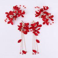 Flor roja de la hoja de cristal perla Pin de pelo y borla larga pendiente conjunto novia Tiara accesorios para el cabello conjunto de joyas de boda JL