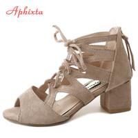 Aphixta Gladiator Peep Toe Women Sandals Cross-tied Zip Flock Summer Shoes Square Cover Heel Women Shoes Sandals Party sandalias
