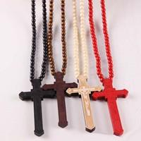 Nueva cruzada de madera de los collares pendientes cristiana religiosa de madera crucifijo cuentas Encanto Cadenas para las mujeres joyería de los hombres de moda de regalos