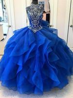 Sparkly Blue High Neck Quinceanera Vestidos 2013 Top Frisado Rhinestone Corset Organza Ruffles Puffy Prom Fiesta Vestido Bling 2018 Vestido de Noite
