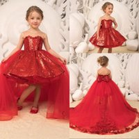 Sparkle Red Sequin Little Girls Pageant Dresses Removable Tu...