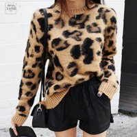 Imprimir Leopard Cashmere Sweater Mulheres morna do pulôver Tops Sweater manga comprida Knit capuz O-Neck Inverno Mohair Jumper