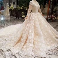 Ball Gown Lace Wedding Dress O- Neck Long Tulle Sleeves Lace ...