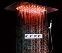 욕실 Buletooth 음악 샤워 3 기능 서모 스탯 수도꼭지 세트 폭포 비 샤워 헤드와 LED 라이트 다채로운 샤워 믹서 세트
