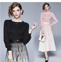 taille à long nouveau joint cou des femmes de conception manches en tricot mince maxi couleur gradient plissé robe longue, plus la taille M L