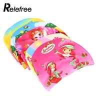 1 PC 유연한 컬러 인쇄 된 아이 수영 모자 방수 입체 패브릭 모자 보호 귀 아이들 색상 무작위 C19040302