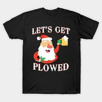 Men t- shirt Lets Get Plowed Santa Claus Beer Funny Christmas...
