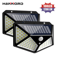 Hannord Güneş Lambası 100 LED Güneş Işık Hareket Sensörü Duvar Işık Su Geçirmez Güneş Enerjili Güneş Işığı Bahçe Dekorasyon Açık Işıklar