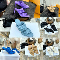 Sandalias de las mujeres del diseñador tejidas zapatos de tacón alto de la curva sandalias del dedo del pie de almendras alargadas mulas las mujeres del diseñador de moda de lujo de los zapatos de tacón alto