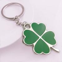 Мода зеленый лист брелок Творческого Красивые Four Leaf Clover металл Лаки брелоки Симпатичный Портативный Малый держатель ключ TTA1145LJ-