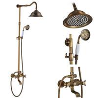 Латунь античная Настенный душ Установить кран Одной ручкой с лейка + Shelf ванной смеситель для душа Tap моды New