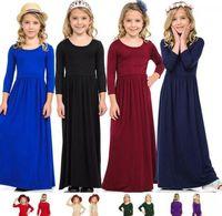 enfants Princess Beach Robe de Bohème Robes pour les filles enfants manches longues Vêtements Tenues de fête Casual robe Vêtements 8 couleurs LJJK2024