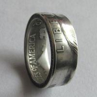 Münzen-Ring Handwerk Ring-Weinlese handgemachte von Franklin Half Dollar-Silber überzogene US-Größe 8-16 #