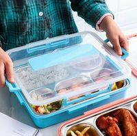 Divisé en acier inoxydable alimentaire Plateau Snack enfants Assiette à dîner Cantine scolaire Assiette Compartments Snack Cuisine Contenant à Lunch Box GGA3472-6