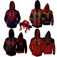 3D Print Jacket Iron Spider Super héros hoodies Hommes femmes Zipper Sweat-shirts Manteau Cosplay Costume Veste Mens Sweat À Capuche Superman Outwear S-5XL