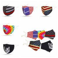 cara protectora bandeira dos EUA laço impresso cover dentes máscara corante boca facial ao ar livre à prova de poeira máscara adulto com bolso filtro FFA4231