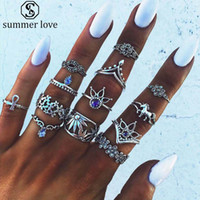 Nieuwe Collectie 13 stks / set Crown Lotus Flower Waterdrop Crystal Ring Set voor Vrouwen Vintage Zilver Goud Knuckle Rings Mode-sieraden Set