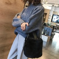 Winter Plush Bucket Lady Shoulder Chain Bag Handbag Tote Mes...