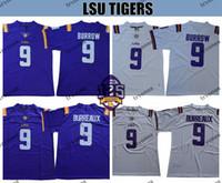 125th LSU 호랑이 9 조 부리 뉴 조 베르로우 대학 축구 유니폼 보라색 화이트 스티치 셔츠 S-XXXL 125 패치