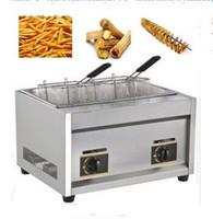 Freidora de gas LPL de 12L para papas en espiral Twister Potato Tornado Fry Potato Churros Chicken