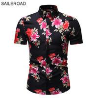 SAILEROAD 2019 Fashion Flower Shirt Herren Print Hemden Hawaiian Slim Fit Camisa Floral Masculina Sommer Kurzarm Hemden Tops