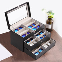 Three Layers 18 Grid Sunglasses Box Eyeglass Storage Organiz...