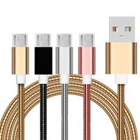 1 M 3ft Paslanmaz Çelik Alaşım Mikro Tip C USB Kabloları için Samsung S6 S7 Kenar S8 Not 8 HTC LG