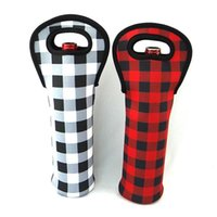 Natale rosso assegno porta vino all'ingrosso Blanks Neoprene Buffalo Plaid Cooler Covers Wraps regalo di nozze