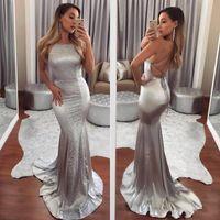 2019 Sereia De Prata Elastic Cetim Prom Vestido Sexy Backless Formal Vestidos de Festa À Noite Vestidos de Dama de Honra BA6843