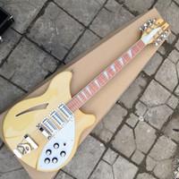 12 문자열 빈 몸 기타 자연 노란색 모델 (370) 일렉트릭 기타 세미 할로우 바디 자연 노란색 삼각형 MOP