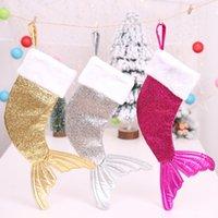 عيد الميلاد تخزين سانتا كلوز كيس الحلوى 18 بوصة السمك الشكل الترتر حورية البحر ذيل جورب الأطفال هدايا عيد الميلاد الديكور
