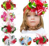 Natal Grande Cabelo Arco Headbands Xmas Pena Grampo de Cabelo Com Elástico HairBands Para Crianças Meninas Festival Headwear Acessório para o Cabelo