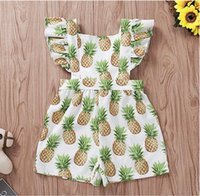 Baby Square Collar Pineapple Print Flying Sleeve Romper Baby...