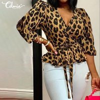 Womens Plus Size Leopard Stampa Leopardo Manica lunga Top Shirts Moda Blouse Moda Tunica Casual Shirt femminile Sexy V Collo a V