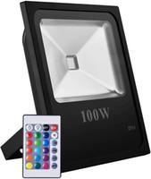 RGB LED 홍수 빛, 50W 100W 색상 보안 등, 16 색상 4 모드 투광 조명, 미국 3 플러그 포함 원격 제어 변경