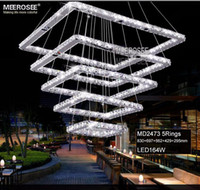 Colgante cuadrado LED accesorio de la lámpara del rectángulo de cristal Lámpara colgante cristalina moderna escalera iluminación de la lámpara para el Hotel Villa Casa Pasillo