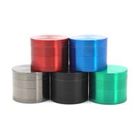 Moedor de Erva 63mm / 50mm / 40mm 4 partes Multicolor disponível, Acessórios para fumar Tobacco Crusher Flat Moedores Zicn Liga CNC Dentes