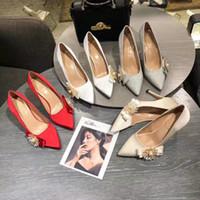 Chegada Nova Womens 4 cores de seda saltos de grife bomba vestido mulheres luxo calçados femininos 10CM 8CM 6CM calcanhar melhor EUR34-40 preço
