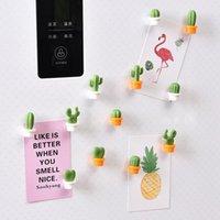 6pcs / set Cactus Buzdolabı Sticker Sevimli Mini Sulu Bitki Mıknatıslar Buzdolabı Sticker İleti Resim Ana Araçları HHA946