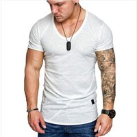 Mens Tops Tees 2019 Summer New Cotton V Neck Short Sleeve T ...