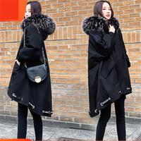 Casual 5XL Plus Size Mulheres Long Parkas Coats Inverno Fur Collar Jackets Feminino 2020 coreana irregular Quente Grosso Casacos B12