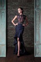 Rami Kadi Высокие низкие кружевные платья Вечерняя одежда Русалка с прозрачным вырезом Вечерние платья с шортами Темно-синее вечернее платье с бисером