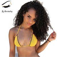 Rebeauty brasileña pelo rizado corto Bob sintético pelucas para mujeres Negro de pelo de colores naturales no del frente del cordón de 16 pulgadas pelucas pelucas Pre desplumados