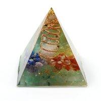 Venta al por mayor 5 PCS rosa chapado en oro colgante envoltura de alambre colorido arco iris de piedra resina curativo chakra joyería espiritual
