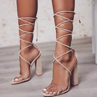 Nuevas mujeres sandalias de tacón de las mujeres con cordones zapatos transparentes de verano correa del tobillo tacones altos mujer zapatos nude gruesos 34-43 10.5 CM